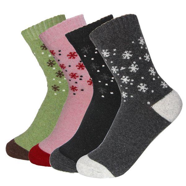 Rabbit Wool Material Women 'S Warm Socks Autumn Winter Comfortable Fashion Female Lovely Sweet Small Snowflake Pattern Meias Sock