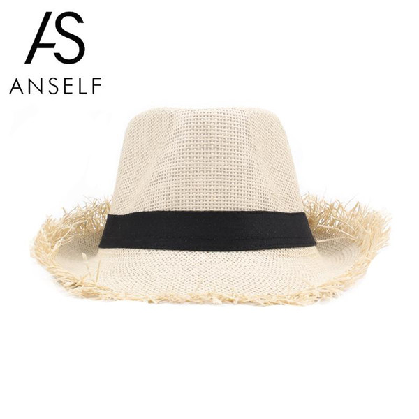 Anself Fashion Beach sun hat Cute children sun hats bow hand made women  straw cap beach big brim hat casual girls summer cap 24b05c930663