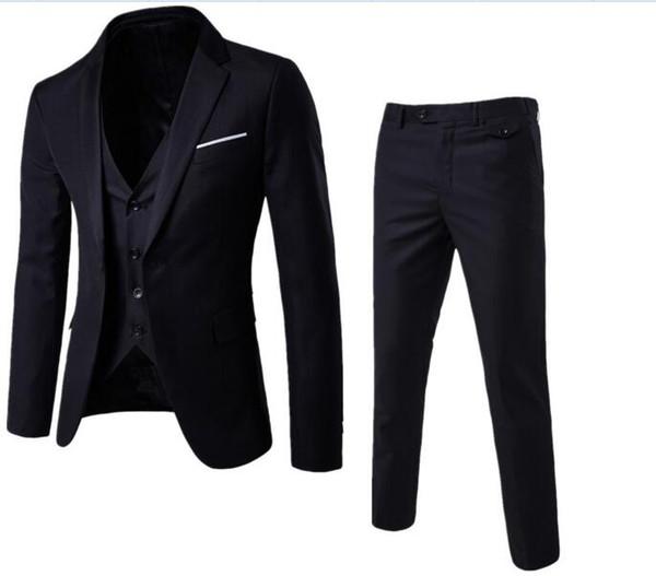 Male brand Solid color men Long sleeve senior/Wedding /dress/Man Business affairs Suit Jacket+Vest+trousers S-6XL