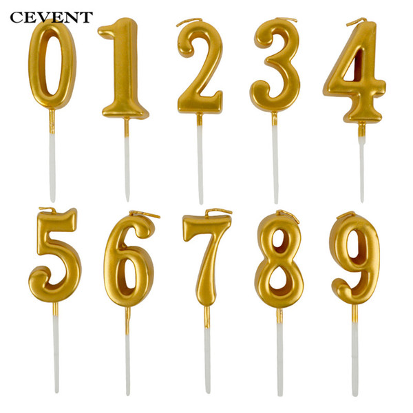 CEVENT 1pc Gold Candles For Happy Birthday Party Decorations Kids Adult 0-9 Number Candles Cake Cupcake Topper Party Supplies