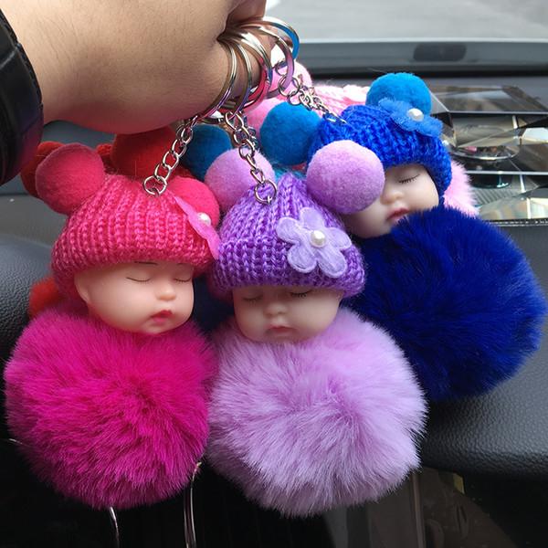 Factory Wholesale Cute Knitted Hat Sleeping Baby Doll Keychain Mini Plush Dolls Cute Christmas Gift Birthday Car Phone Bag Key Ring Pendant