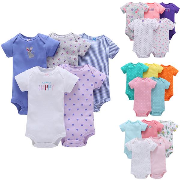 FREIES VERSCHIFFEN Neue Bebes Baby-Mädchen-Kurzschluss-Hülse 5 PC-Bodysuit-Satz-Kleidungs-gesetzte Bodys 6 Monate bis 24 Monate Bebes