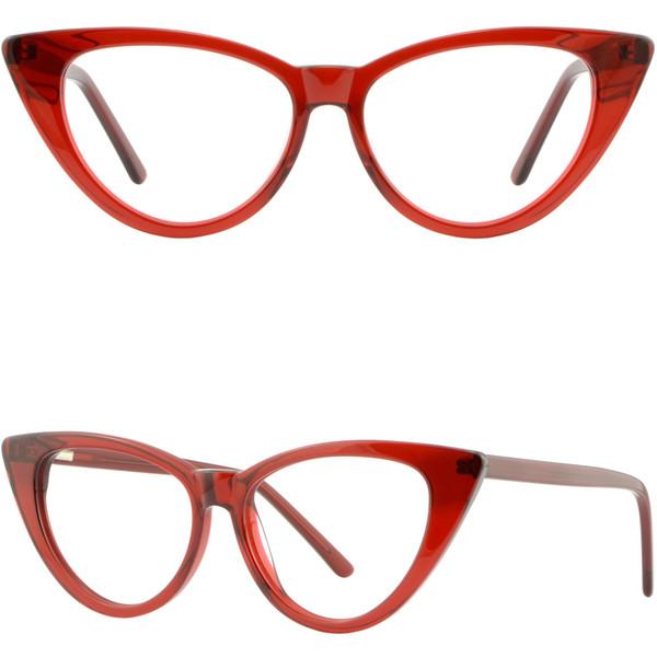 Le ressort en plastique de cadre large d'oeil de chat de grandes femmes charnière les verres de RX translucide rouge
