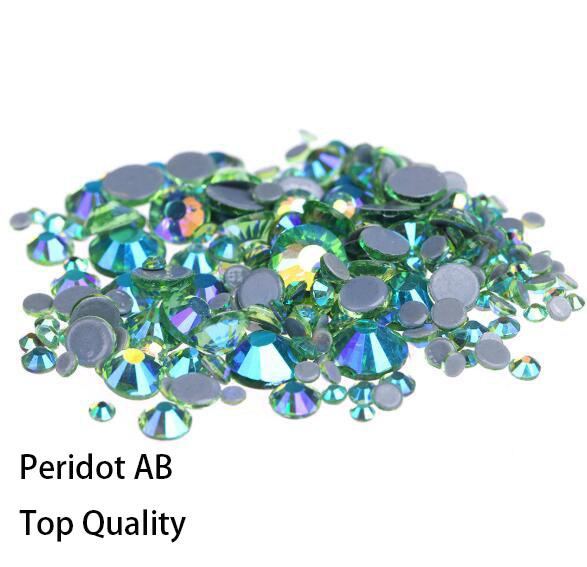 Hot Sale A++ Grade Quality Peridot AB Glass Crystals Strass Stones Hotfix Rhinestones For clothing Garment Accessorie