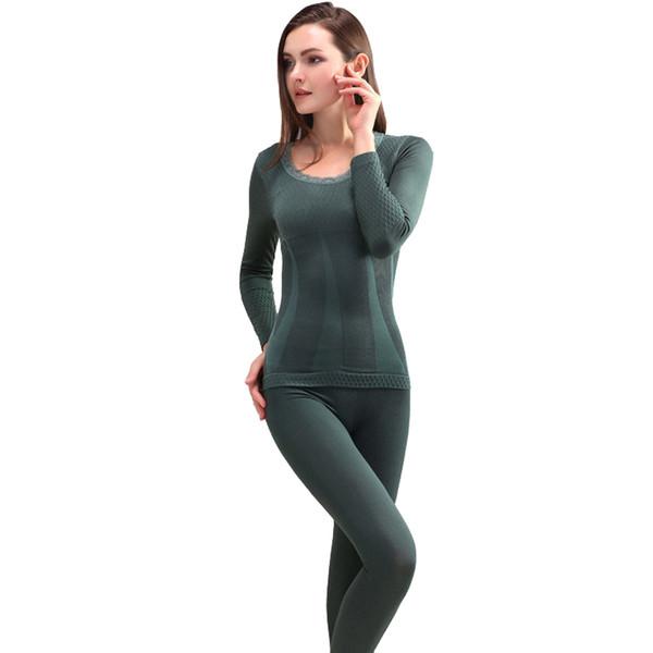 Termal Iç Çamaşırı Setleri Yeni Kış Kadın Modal Paçalı Don Dikişsiz Üst ve Pantolon Takım Elbise Seksi Ince Vücut Şekillendirici Sıcak Tayt