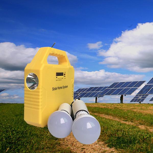 solar powered house led light bulbs 3w 9v solar panel charging mobile phone music radio bluetooth