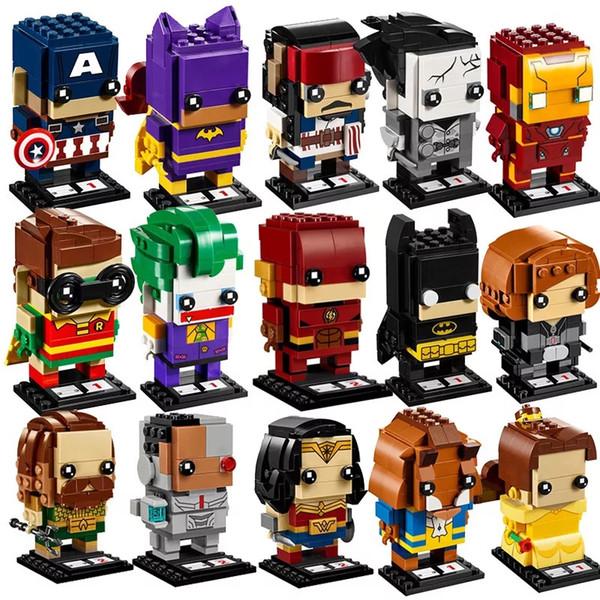 Le luta cabeça quadrada série homem de ferro spiderman Batman capitão americano crianças montadas puzzle blocos de construção de brinquedos