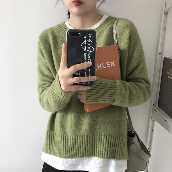 Herbst und Winter Damen Pullover Koreanische Version des unregelmäßig aufgeteilten dicken Pullover Damen lose Pullover Shirt