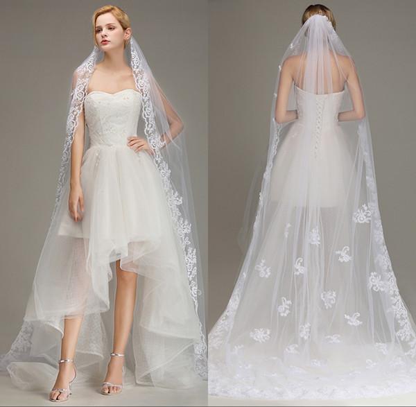 Una capa de encaje velos de novia largos con encaje Apliques de encaje Velos de novia Velos de marfil blanco para boda Envío gratis Venta caliente