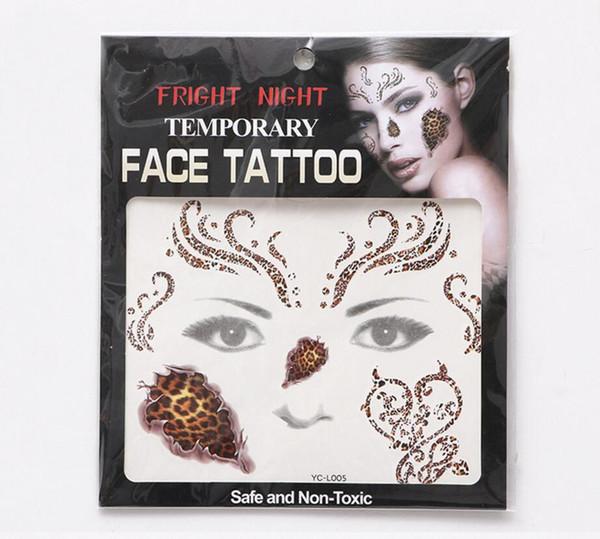 noche de susto cara de la cara del tatuaje del ojo etiqueta engomada temporal del tatuaje a prueba de agua pegamento autoadhesivo disfraces de Halloween Cosplay maquillaje del arte del cuerpo del partido