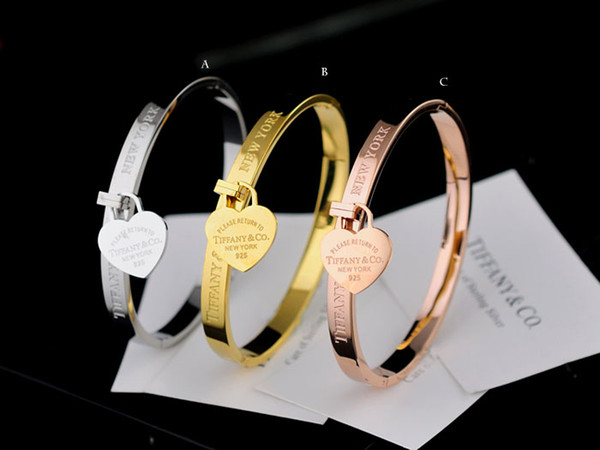 High Quality Celebrity design 925 Silver beads bracelet Women Letter Heart-shaped Fashion metal Bracelets Jewelry With dust bag Box