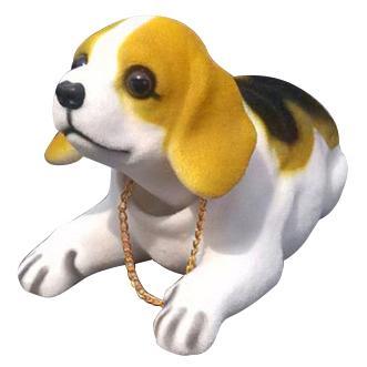 Decoración del coche Bobbing Head Beagle Asintiendo con la cabeza Perro Negro Blanco Marrón claro