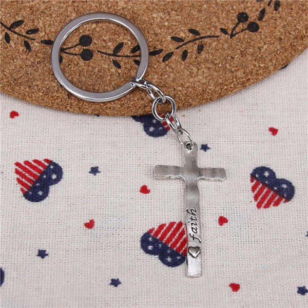 New fashion key chain cross faith believe 47*23mm pendant DIY male jewelry car key chain Holder Jewelry Gift Souvenirs