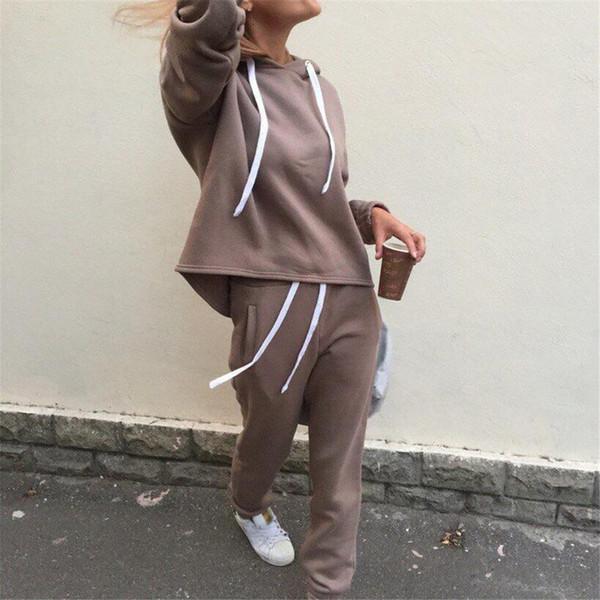 Mulheres Casuais Yogasuits Outono Com Capuz Pulôver Jaqueta Para As Mulheres Soltas Calças Compridas Jogging Esporte Conjuntos Plus Size