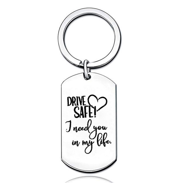 Drive Safe I Need You Here With Me Heart Cute Keychain Hand Stamped Key Chains Boyfriend Gift Girlfriend Valentine's Day Gifts