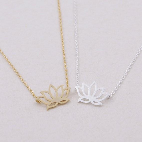 2018 Fashion plant Gold silver plated Lotus Necklace Pendant Necklace for women gift Free Shipping Wholesale