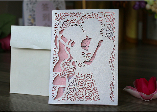 2018 New Design Hollow Flora Bride And Groom Wedding Invitations Laser Cut Marriage Party Invites Cards Wedding Reception Invitation Wedding Rehearsal