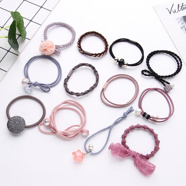 female rubber band small hair rope combination Beautifully tied hair ring 12pcs/box cute fashion headband hair acce