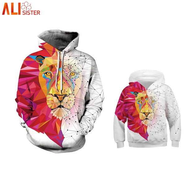 Alisister Lion Print Parent-child Hoodie Sweatshirt Family Matching Outfits Casual Children Clothing Kid Pullover Family Clothes