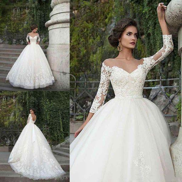 2018 una línea de vestidos de novia Ballkleid Brautkleider OFF hombro apliques de encaje 3/4 manga sin respaldo barrido tren vestidos de novia