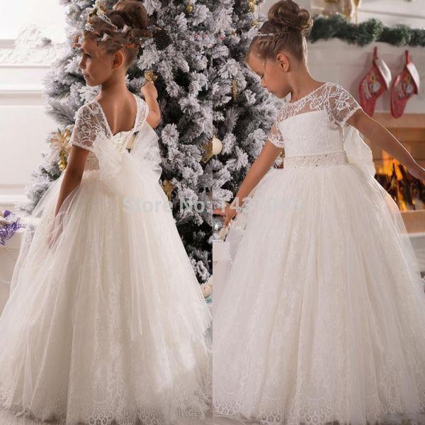 White or Ivory Formal Lace Tulle Short Sleeve Custom Cute Applique Flower Girl Dresses Gowns Floor Length Little Kids Party Birthday Dress