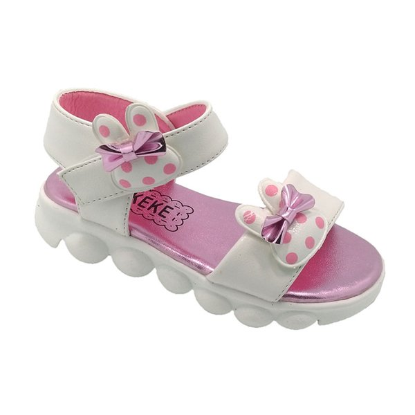 Baby Girls Rabbit Sandals Bowknot Patch White Pink Round Toe Ankle Buckle Strap Soft TPR Outsole Kids Shoes Summer Sandals