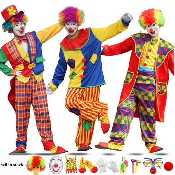 High Quality Holiday Variety Funny Clown Cospaly Costume Man Adult Clown Clothes Party Dress Joker Costume