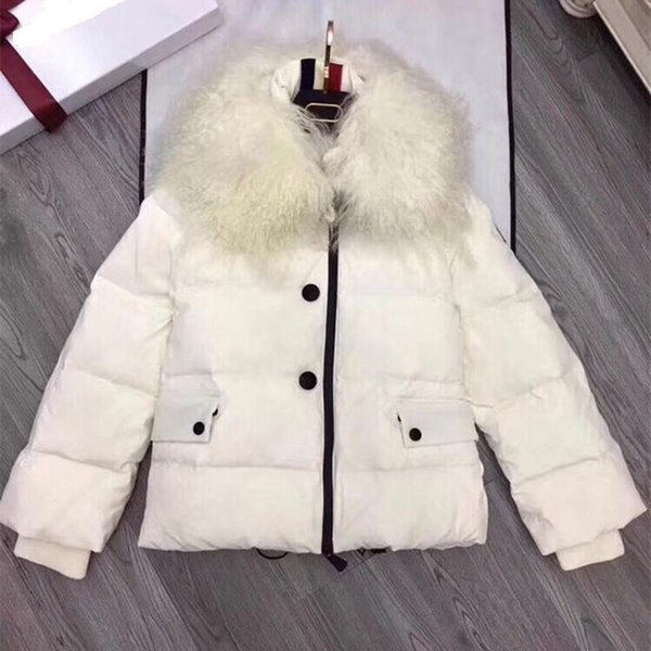 Winter Women's 90% White Goose Down Jackets with Lambswool Fur Collar White Thicker Ladies Coats Black High Quality Outwear Pink