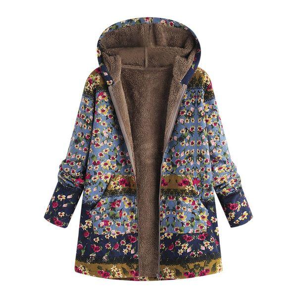 Acheter ISHOWTIENDA Manteau D'hiver Femmes 2018 Parka Vintage Imprimé Floral À Capuche Mode Plus La Taille Parka Femme Veste Manteau Femme Hiver