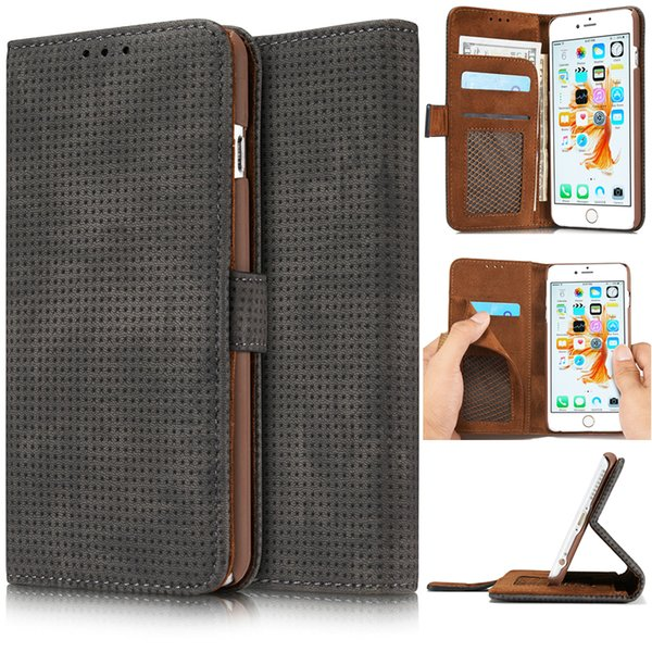 """For Iphone 6s Luxury Retro Mesh Ventilation Leather Wallet Book Style Flip Funda Case For Apple Iphone 6 6s 4 .7 """"Cover"""