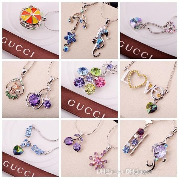 Free Shipping 70 styles Silver plated alloy rhinestone pendant necklace mixed batch of short selling fine jewelry Crystal Necklace c146