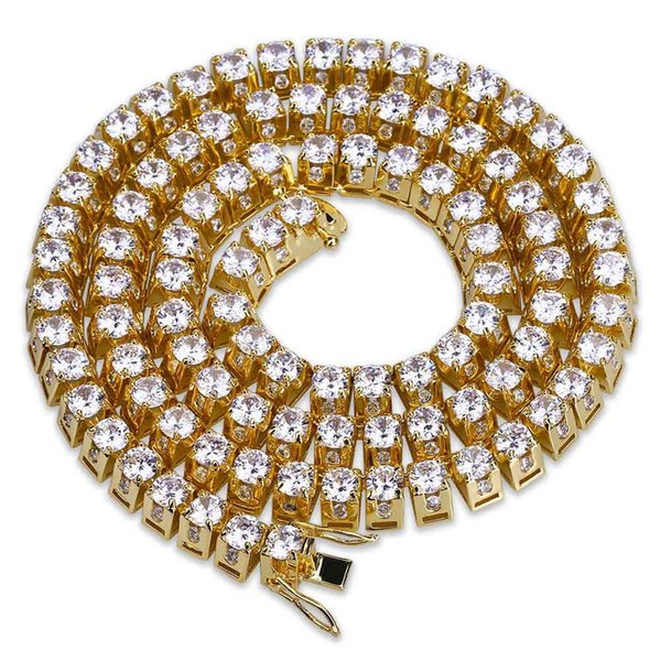 Moda Branco e 18 k Banhado A Ouro Micro Mosaico Zircônia Trapezoidal Cadeia Colar de 0.39 Polegada de Largura 22 Polegada de Hip Hop Jóias Presentes para Homens