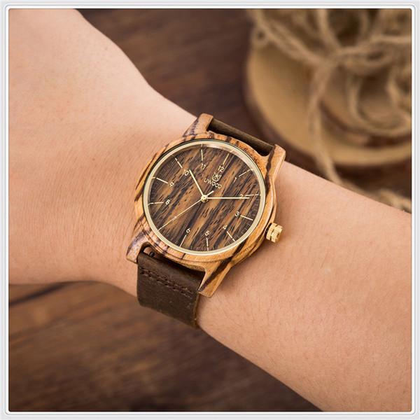 Reloj de madera de bambú del reloj de madera de las mujeres de los hombres de lujo de la manera Reloj de pulsera de cuero del cuarzo de las mujeres de moda y buen uso
