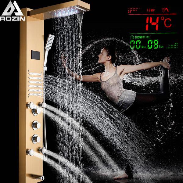 Bathroom Golden Shower Column Tower Shower Faucet System Bath Shower Panel SPA Massage Jets Digital Temperature Screen Mixers