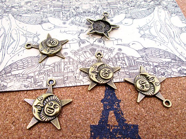 20pcs New Arrivals 37*25mm antique bronze sun moon star charm connector diy jewelry making