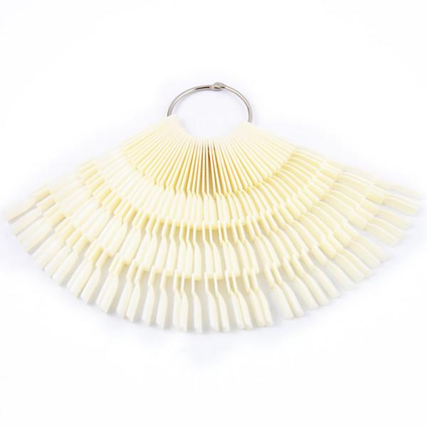 Wholesale-50PCS Transparent/Natural Fan Board Display Nail Art Tips False Round Hoop Stick Practice for Polish Gel Showing Tools