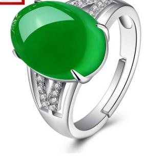 chaming green jade crystal diamond ring size open