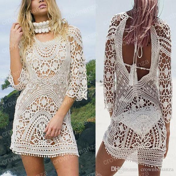 Fashion Women Bathing Suit Lace Crochet Bikini Cover Up Swimwear Summer Beach Dress White Boho Sexy Hollow Knit swimsuit
