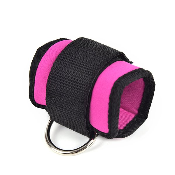 Multi D-ring Ankle Anchor Strap Belt Gym Cable Thigh Leg Pulley Strap Lifting Fitness Exercise Training Equipment rose red