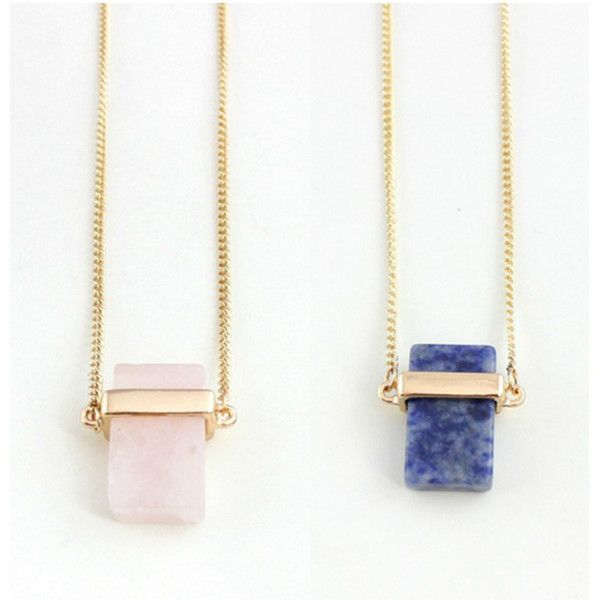 Fashion New Crystal Pendant Necklaces Pink Blue Rectangle Natural Stone Necklace With 28 Inch Chain Fashion Jewellery