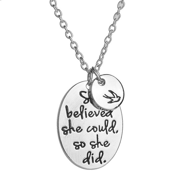 Engraved she believed she could so she did Disc Swallow Charms Pendant Necklace For Women Best Friends Inspirational Jewelry