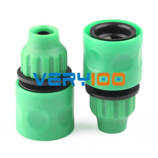 2pcs Green Plastic Garden Washing Water Hose Pipe Coupler Connectors Joiner 3/8