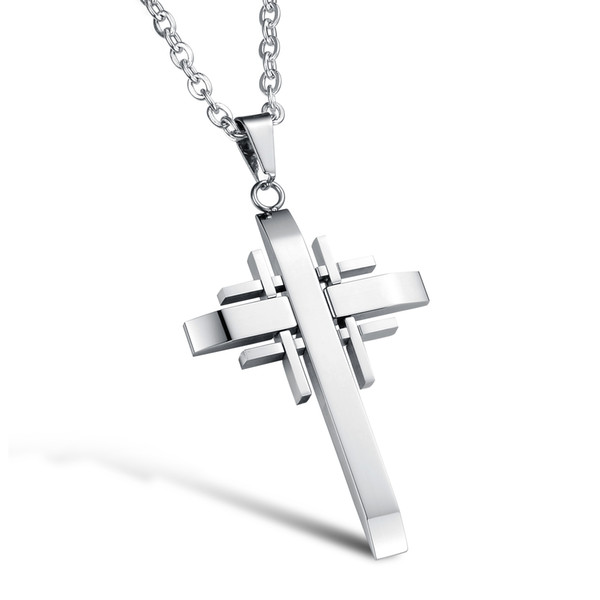 Silver Black Gold Color Fashion Lover's Cross Gemstone Pendant Necklace Stainless Steel Link Chain Necklace Jewelry Gift for Men Boys 941