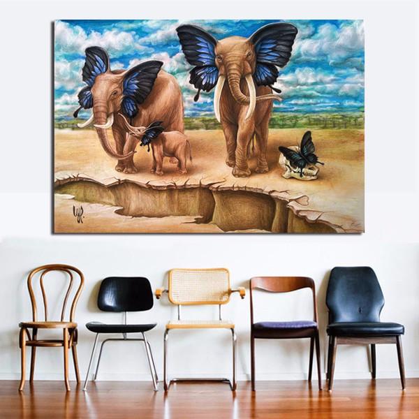 Acheter Peinture à L Huile Mur Toile Décorative Salon Le Papillon Oreilles éléphant Peinture Mur Peinture Image No Frame De 24 59 Du Framedpainting