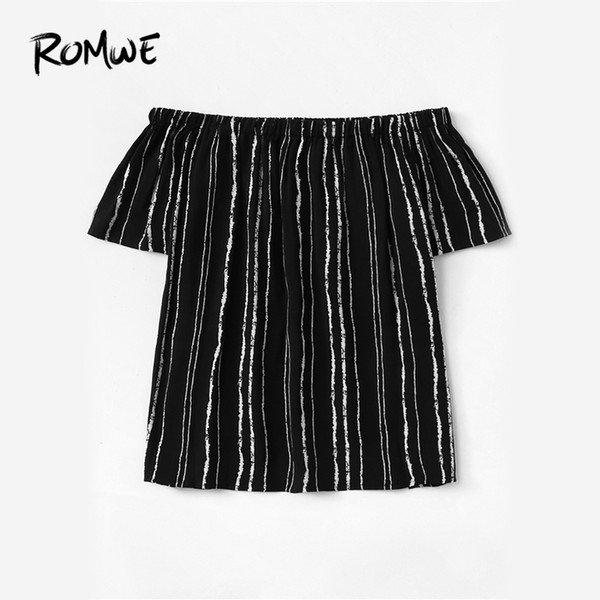 2018 Ladies Weekend Casual The 20188 Shoulder Top Striped crop ROMWE manga Blusa corta clothing Summer Black Off Mujeres 077q6H