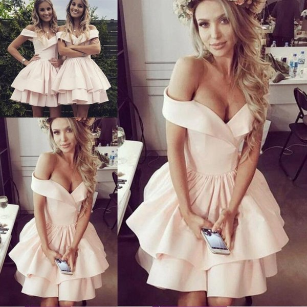 Cheap Summer Homecoming Dresses Pale Pink 2019 Elegant Off Shoulders Layers Ruffles Short Cocktail Prom Party Gowns