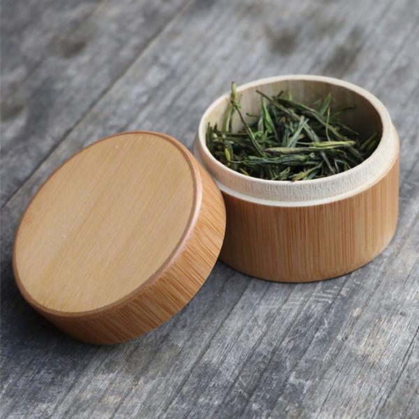 Caja de Matcha de bambú natural en polvo Matcha té verde té de Caddy accesorios de té tarro de embalaje puede regalo QW7319
