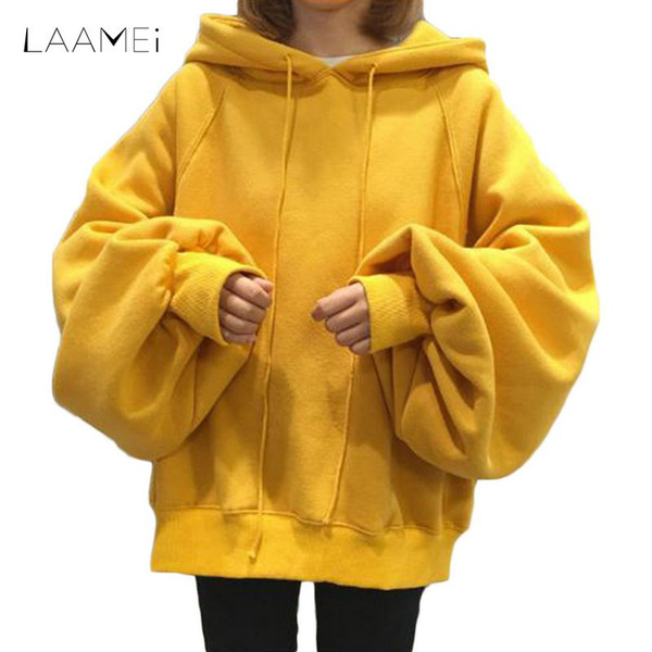 Laamei New 2018 Fashion Spring Autumn Hooded Pullover Sweatershirt Women Casual Warm Lantern Sleeve Loose Hip Hop Solid Hoodies