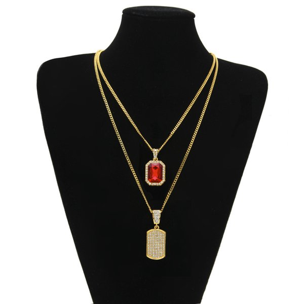 Egyptian Ankh Key of Life Bling Rhinestone Cross Pendant With Red Ruby Pendant Necklace Set Men Fashion Hip Hop Jewelry gm