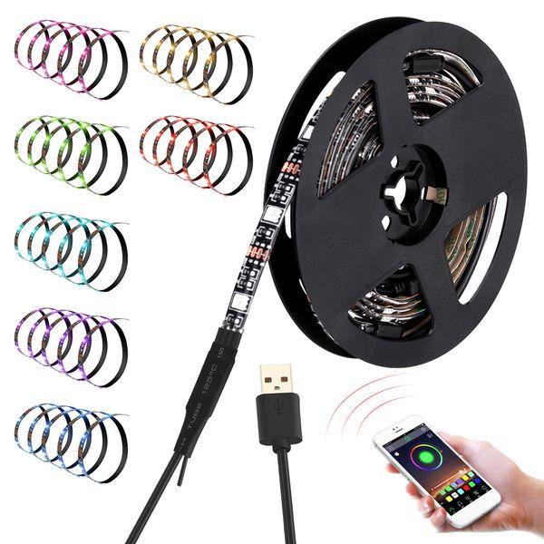 12W 6.6FT 5050 60 USB LED TV Light Strip RGB Color Changing Backlight Strip with Timer Mode Home Decoration